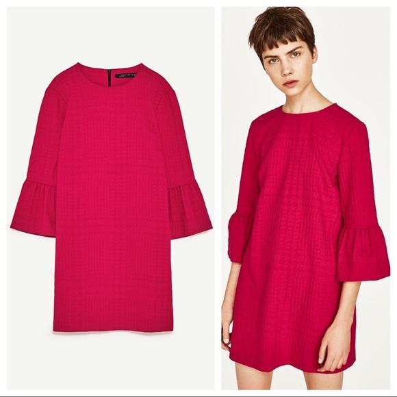 75e8973e4f4f Zara Dresses | Textured Mini Dress W Frilled Sleeves Pink | Poshmark